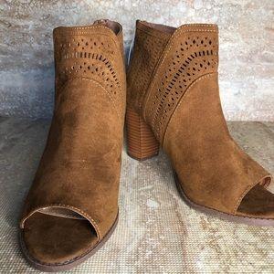 Report brown heeled open toe booties